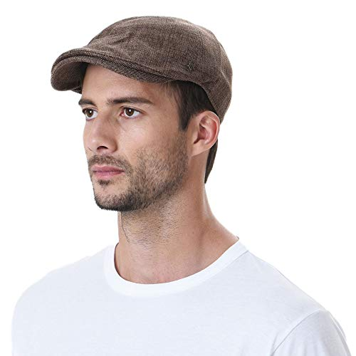 WITHMOONS Flat Cap Summer Cool Ivy Style Neutral Color Newsboy Hat AM3998 (Brown)