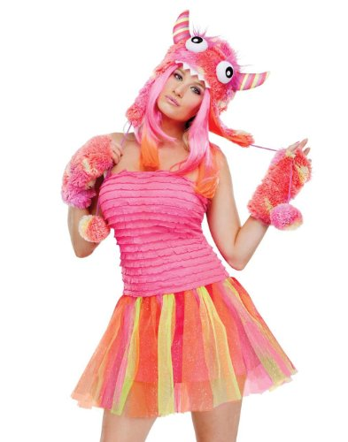 [Fun World Wild Child Monster Adult Costume, Pink/Orange, Medium/Large] (Sexy Monster Halloween Costumes)