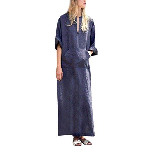 Realdo Women Casual Dress, Fashion Solid Long Sleeve V-Neck Baggy Maxi Dress(Blue,X-Large) -
