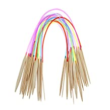 Chinatera 8 Pairs of 32 Inch 80cm Multicolor Carbonized Bamboo Knitting Needles