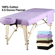 MT Massage 100% Cotton Flannel Sheet Set(3-pc Sheet Set) for Massage Table- Purple