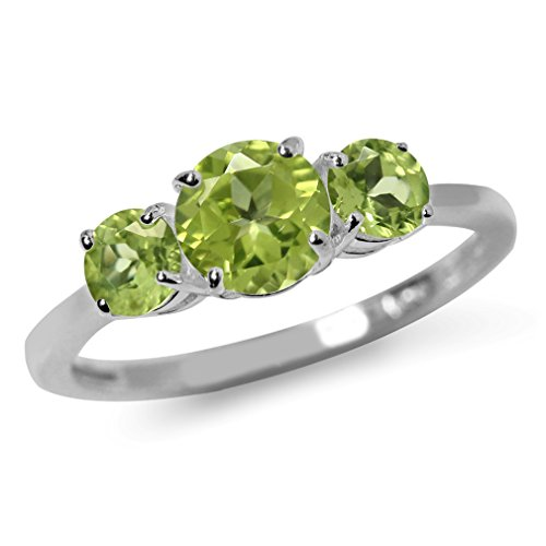 1.49ct. 3-Stone Natural Peridot White Gold Plated 925 Sterling Silver Ring Size 10