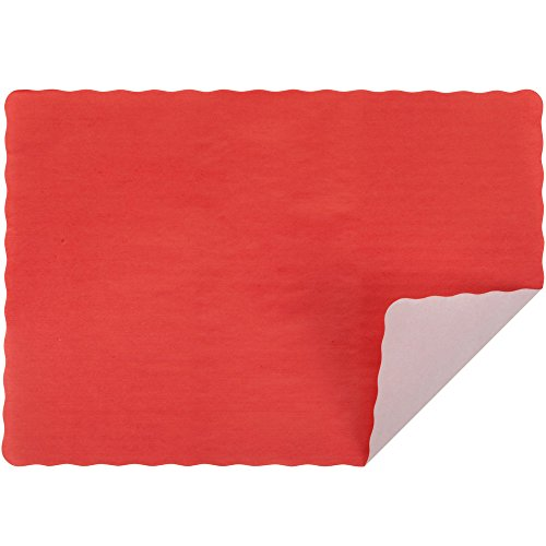 Red Colored Paper Placemat with Scalloped Edge