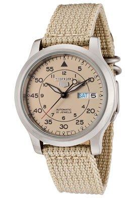 "Seiko Men's SNK803 ""Seiko 5"" Automatic Watch with Beige Canvas Strap"