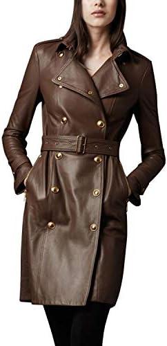 Chaqueta de abrigo con botones de gamuza de cuero TAN largo 70S marrón Vintage para mujer 3XL