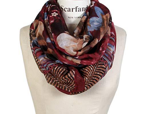 Scarfand's Romantic Rose Print Lightweight Infinity Scarf Wraps (Romantic Burgundy)