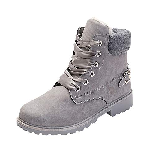 Hunzed Women Girl's Warm Casual Women's Shoes Plus Velvet Booties Winter Snow Boots (Gray, 7.5) from Leopard print Shoes Zipper Boot Ankle Short Snow Booties Women Outdoor Vintage Leisure sneakers