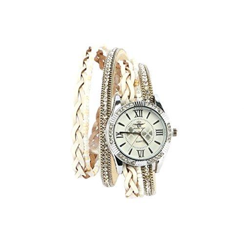 Michael John - Reloj Mujer Pulsera Doble Tour cristal blanco Kelly: Amazon.es: Relojes