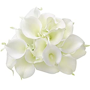10x Calla Lily Artificial Flowers for Wedding Home Decorations Indoors Outdoors Ivory 48