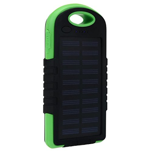 Price comparison product image Livoty 10000mAh Portable Waterproof Solar Charger Dual USB External Battery Power Bank (Green)