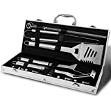 Monbix GL-80718 18 Pieces Heavy Duty BBQ Grill Tool Set for Men Dad - Outdoor Camping Cooking Professional Stainless Steel Barbecue Accessories in Aluminum Case