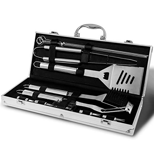 Monbix Professional BBQ Accessories Tool Set,Stainless Steel Grill Accessories Set,BBQ Accessories Barbecue Grill Set - 18 Pcs with Case ()