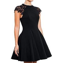 3e432561757c SUNNOW Women's Sleeveless Lace Patchwork A Line Short Mini Casual Dress