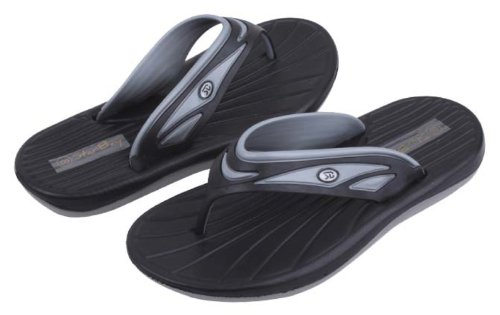 Mens Lite Weight Thong Water Proof Beach Sandals or Casual Flip Flops Grey, Black or Navy Black