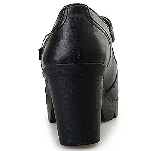 DADAWEN Women's Classic T-Strap Platform Mid-Heel Square Toe Oxfords Dress Shoes Black US Size 9 by DADAWEN (Image #4)