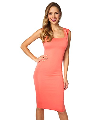 KRISP Vestido Mujer Ajustado Midi Corto Elástico Boda Cóctel Elegante Talla Grande Coral
