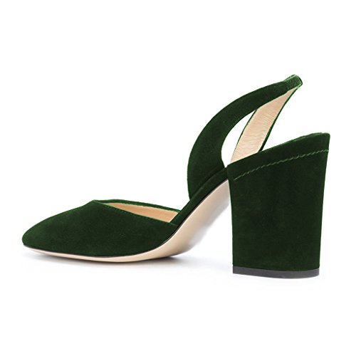 FSJ Women Faux Suede Slingback Pumps Round Toe Chunky Heels Sandals Shoes For Comfort Size 4-15 US Olive I2ytVa8SOw