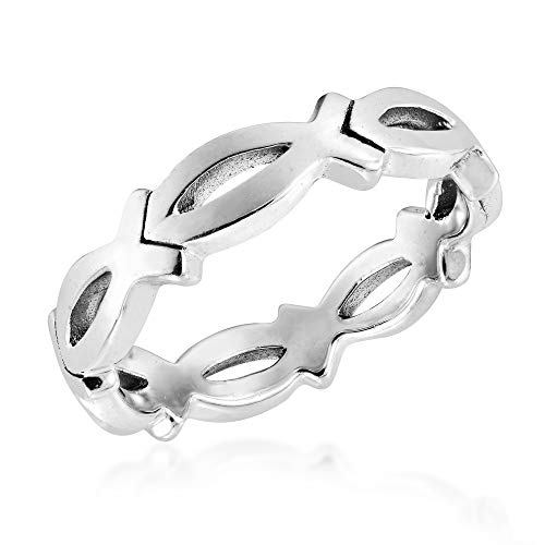 (AeraVida Christian Fish Eternity Link .925 Sterling Silver Ring (7))