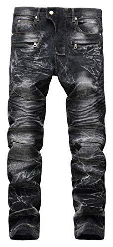 Sottili Skinny Motociclista 6501black Moto Dei Denim Jeans Svago Slim Hren Pantaloni Fit Uomo Di Elasticizzati fzq1Sw7f