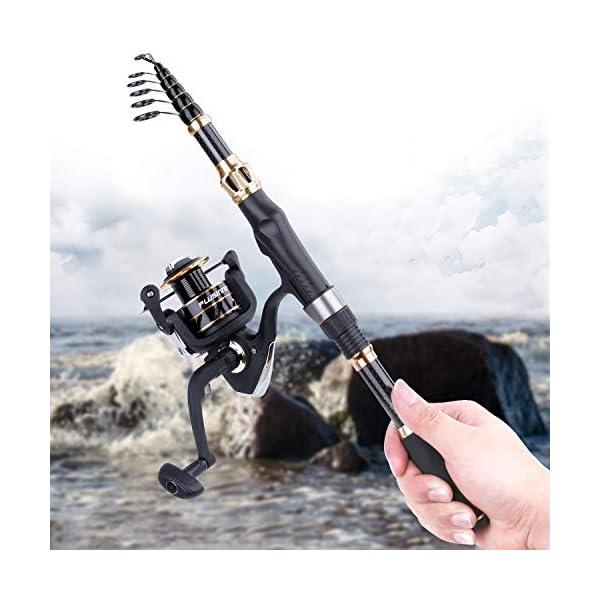 PLUSINNO Fishing Rod and Reel Combos Carbon Fiber Telescopic Fishing Rod