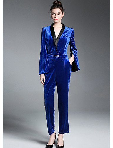 039; S Cuello Bloque Manga Slim Out Azul V Going Jumpsuits Xuanku Color Caída Chic Real Poliéster Mujeres Larga amp; Real Calle EtqwPxng4W