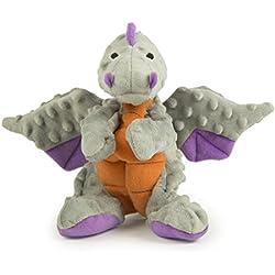 goDog Dragon With Chew Guard Technology Tough Plush Dog Toy, Gray, Large