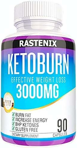 Rastenix Best Keto Pills - 3X Potent (3000mg   90 Capsules) - Weight Loss Keto Burn Diet Pills - Boost Energy and Metabolism - Exogenous Keto BHB Supplement for Women and Men - 90 Capsules