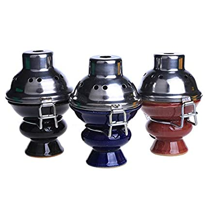TS Trade Hookah Metal Wind Cover with Ceramic head Shisha bowl Hookah Accessories Blue