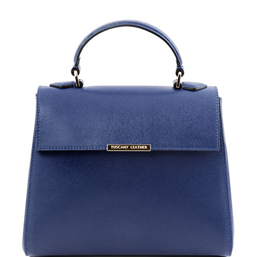 Scuro Tuscany Saffiano piccolo Blu pelle Leather Bauletto Lipstick in TL TL141628 Rosso Bag fwqfx6r7