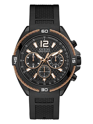 GUESS  Comfortable Rose Gold-Tone + Black Stain Resistant Silicone  Chronograph Watch. Color: Blalck (Model: U1168G3)