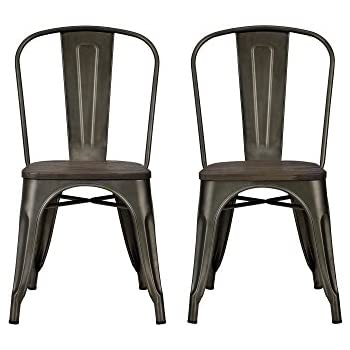DHP Fusion Metal Dining Chair With Wood Seat Set Of Two Antique Copper