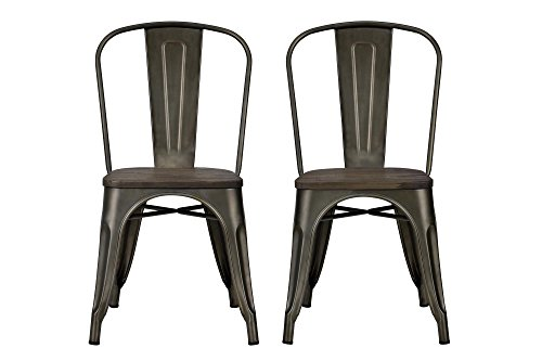 DHP Fusion Metal Dining Chair Wood Seat, Set Two,