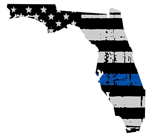 State Police Decals (Thin Blue Line- State Of Florida Tattered Flag Police Decal Vinyl Sticker 6