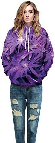 Men Womens Purple Weed 3D Print Tracksuits Crewneck Hip Hop Sweatshirt Pants 2 Pcs Set Hoodies Couple Clothing