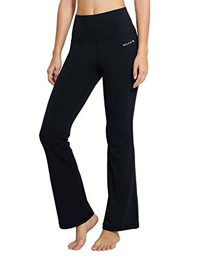 Baleaf Women's Fold Over High Waist Tummy Control Workout Bootleg Yoga Pants Black Size XL