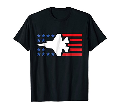 Fighter Jet Shirt F35 American Blue Stars and Red Stripes