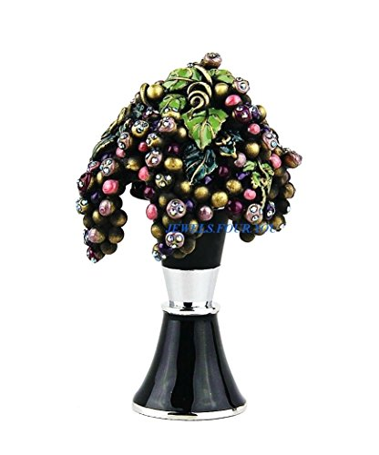 JAY STRONGWATER WINE STOPPER & STAND GRAPE by Jay Strongwater