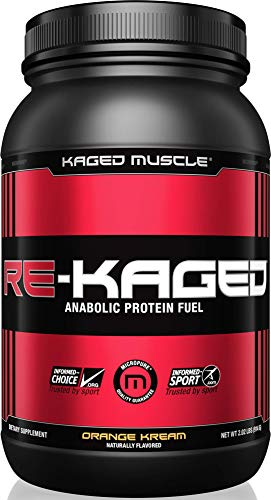 - KAGED MUSCLE, RE-KAGED Whey Protein Powder, Whey, Orange Kream, Post Workout Recovery, BCAA's, EAA's, Creatine HCl, Glutamine, Betaine, Natural Flavors, Orange Kream, 20 Servings