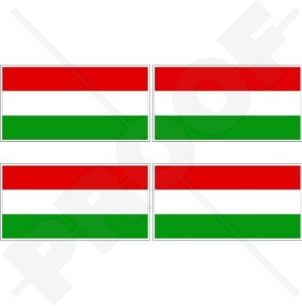 """Price comparison product image HUNGARY Hungarian Flag MAGYAR 2"""" (50mm) Vinyl Bumper-Helmet Stickers,  Decals x4"""