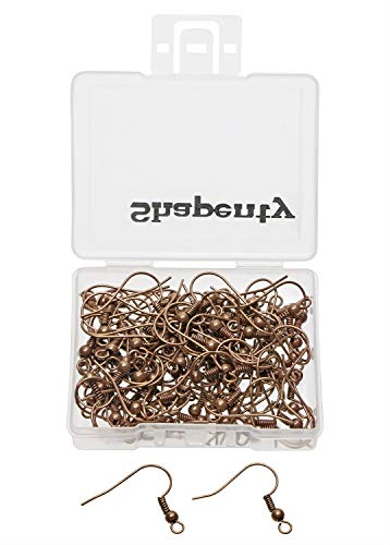 Shapenty Surgical Brass Ball Coil Fish Earring Hooks Clasp Hypo-allergenic Ear Wire Bead Connector Hooks with Large Loop for DIY Jewelry Finding Making, 100PCS/50Pairs (Copper)
