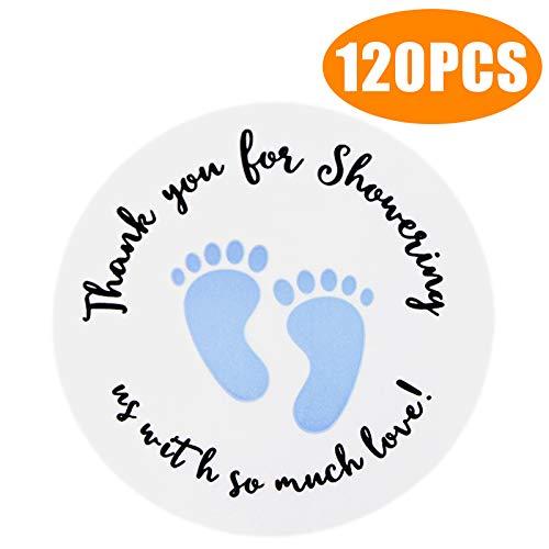 Original Design 120PCS Baby Shower Stickers,Thanks for Showering US,1.5inch Girl Boy & Gender Neutral Round Shower Stickers -