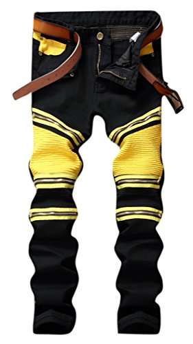 OKilr Pjik Men's Black Yellow Stretch Biker Moto Straight Sl