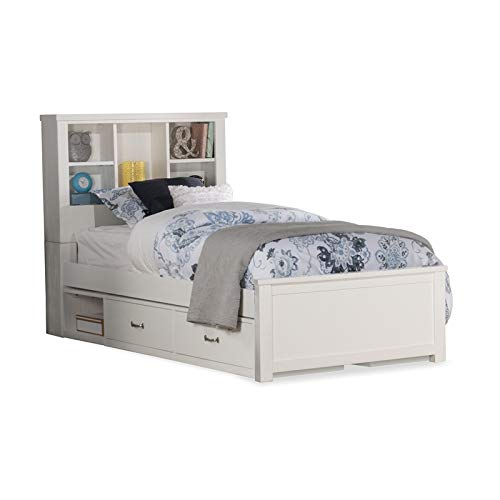 NE Kids Highlands Bookcase Bed with Storage Unit - Twin - Wh