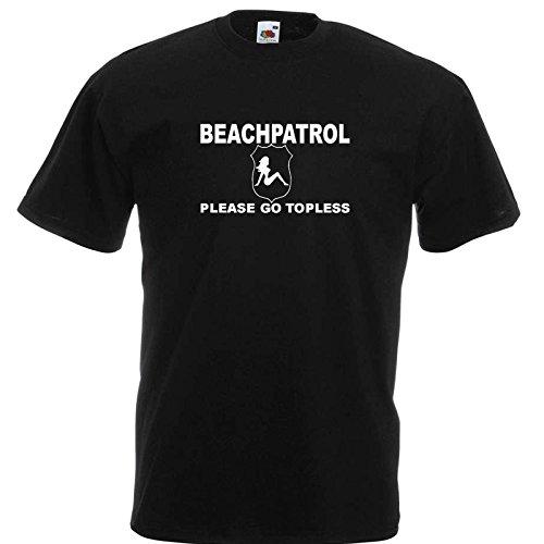 Beach Patrol T-Shirt Schwarz / Druck Weiß