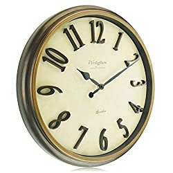 Westzytturm Large Wall Clock 18 inches Glass Cover 3D Big Number Modern Wall Clock Battery Operated Non Ticking Silent Home Decorative Clocks for Living Room Office Bedrooms Kitchen Brown Wood Grain