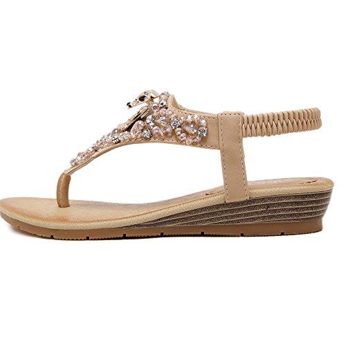 of Shoes Bohemia Flops Flowers Colorfulworld Women's Styles Rhinestones apricot flip Sandal F8IqXUq