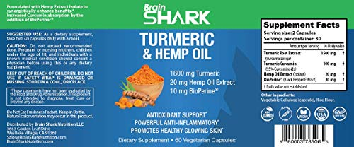 Turmeric Curcumin with Hemp Oil Extract and BioPerine. Antioxidant Support, Powerful Anti-Inflammatory, Promotes Healthy Glowing Skin. 60 Capsules