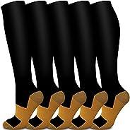 Copper Compression Socks Women & Men(6 Pairs) - Best for Running,Sports,Hiking,Flight Travel,Pregn