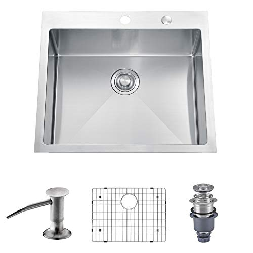Cheapest Price! MOWA HTS2522 25 x 22 Handmade 16 Gauge Stainless Steel Top Mount Drop In Single Bo...