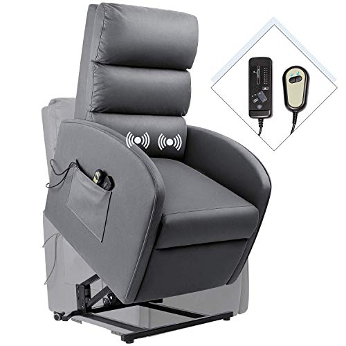 Homall Electric Power Lift Recliner Chair Massage Sofa Home Recliner for Elderly Classic Lounge Chair Living Room Chair with Safety Motion Reclining (Gray)